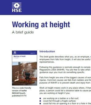 INDG401 Work At Height, A brief guide