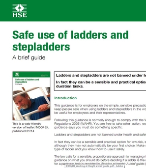 INDG455 Safe use of ladders and stepladders A brief guide