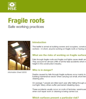GEIS5  Fragile roofs. Safe working practices.