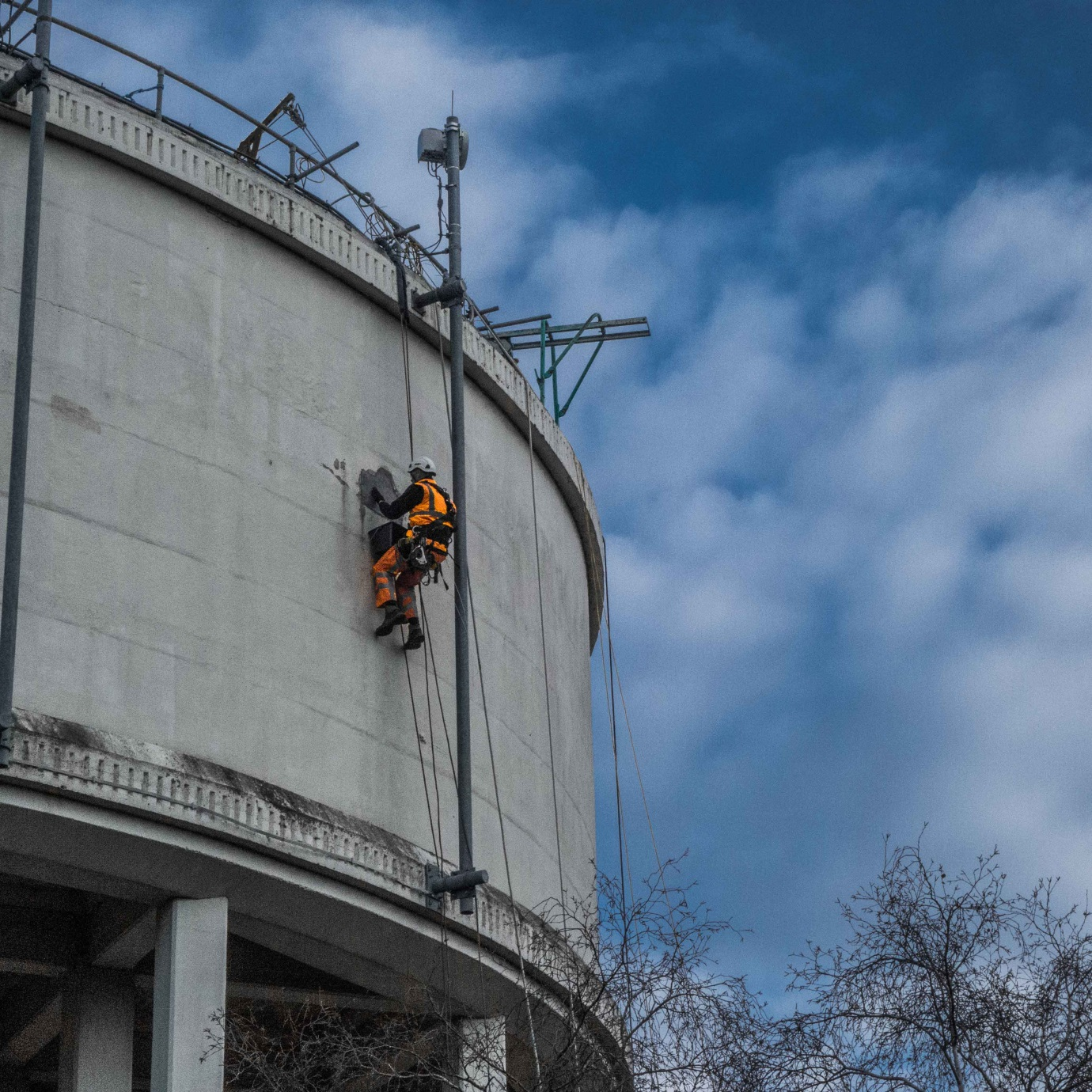 maintenance of a high up water tower
